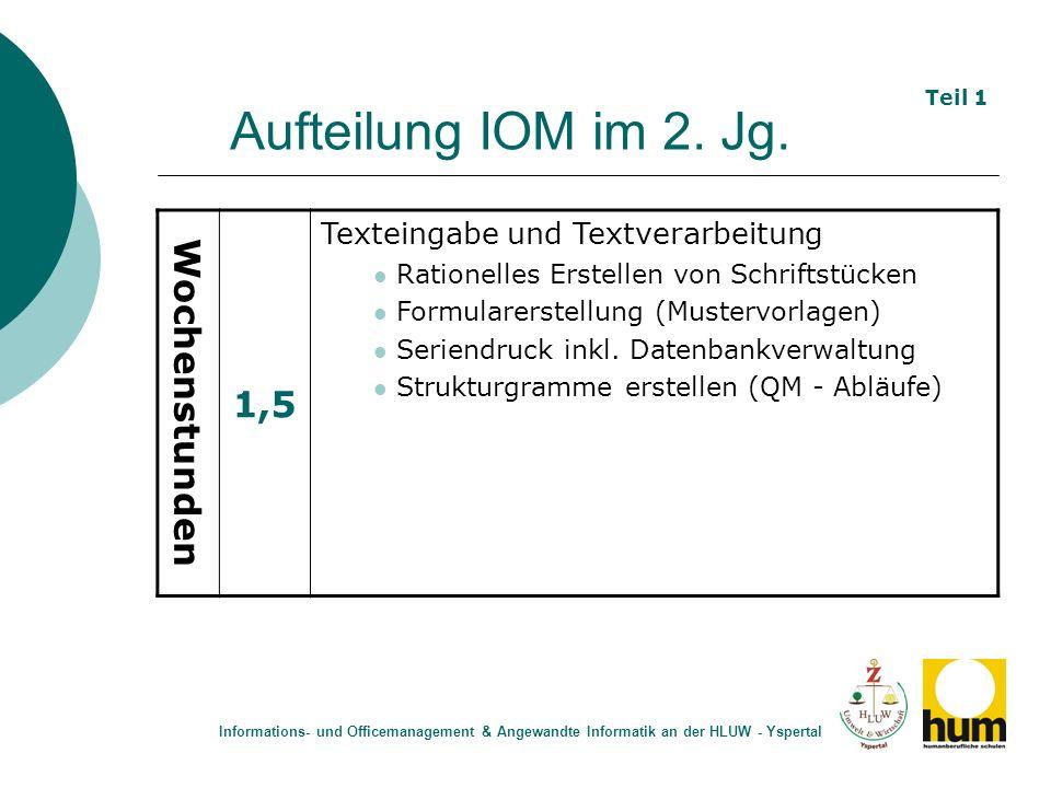Aufteilung IOM im 2. Jg. 1,5 Wochenstunden