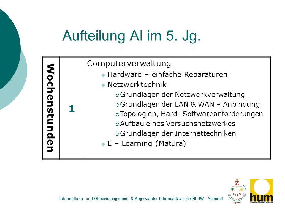 Aufteilung AI im 5. Jg. 1 Wochenstunden Computerverwaltung