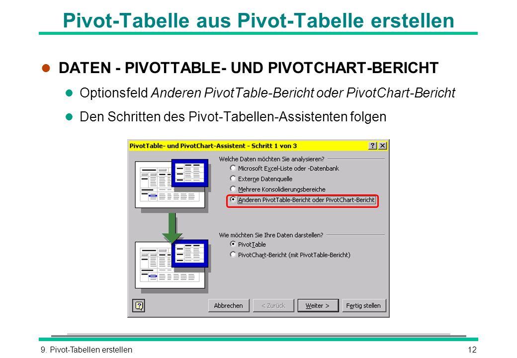 Pivot-Tabelle aus Pivot-Tabelle erstellen