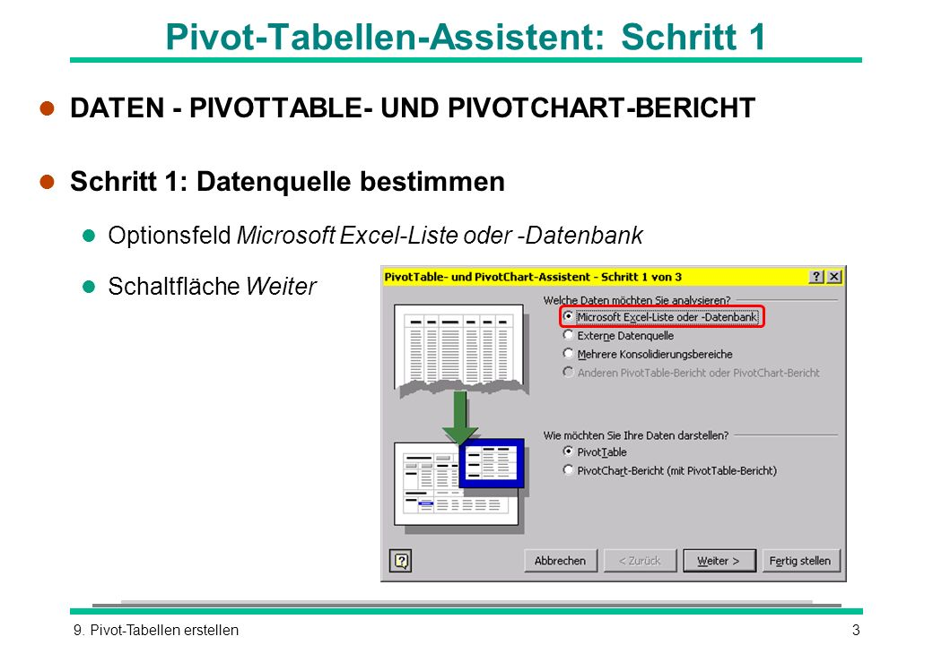 Pivot-Tabellen-Assistent: Schritt 1