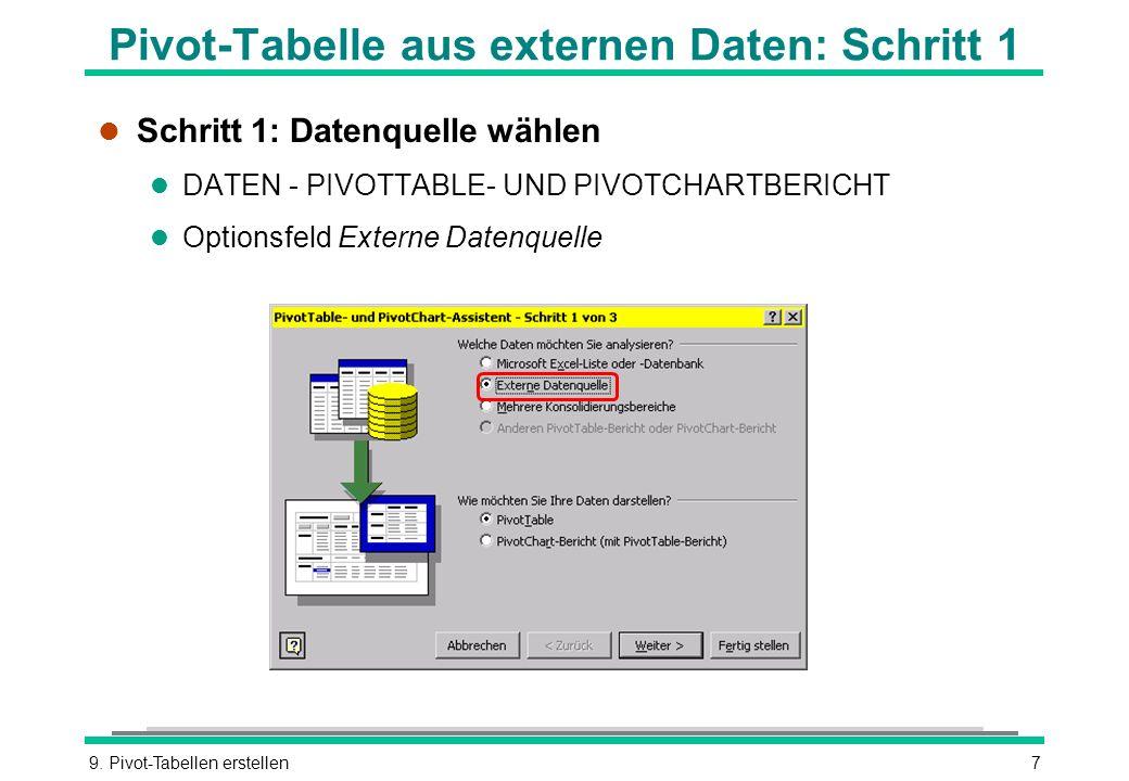 Pivot-Tabelle aus externen Daten: Schritt 1