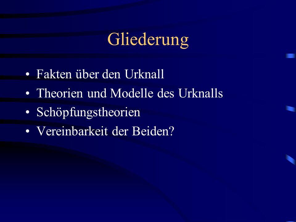 Gliederung Fakten über den Urknall Theorien und Modelle des Urknalls