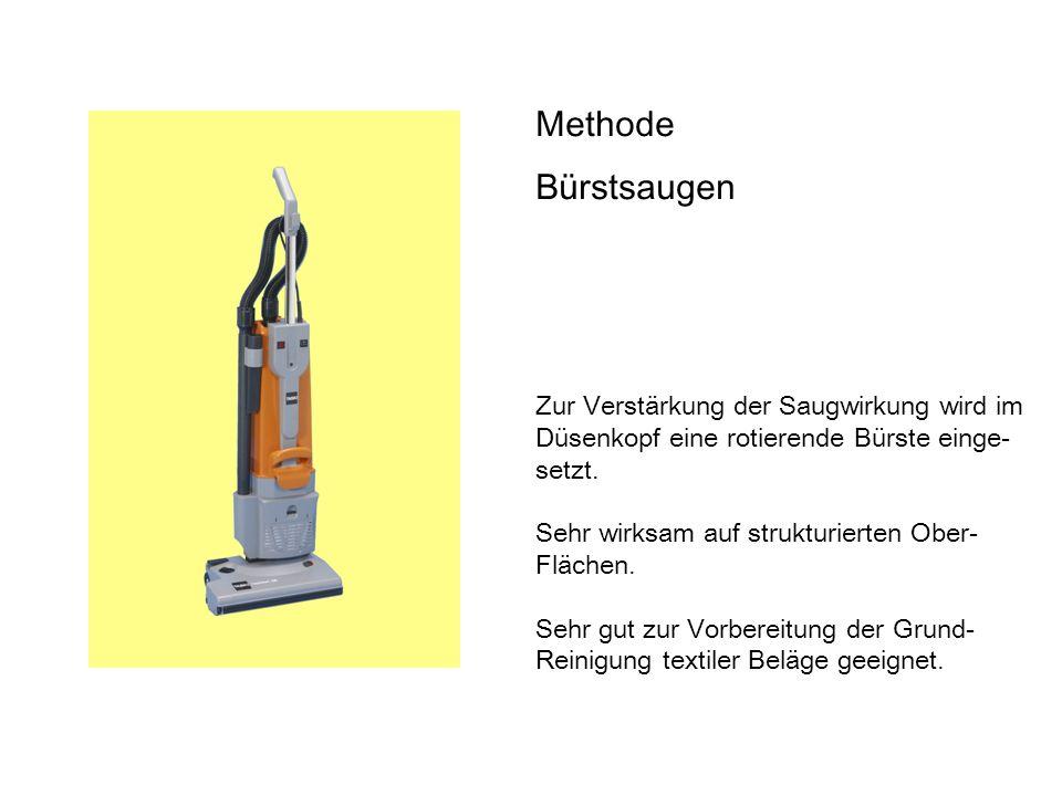 Methode Bürstsaugen Zur Verstärkung der Saugwirkung wird im