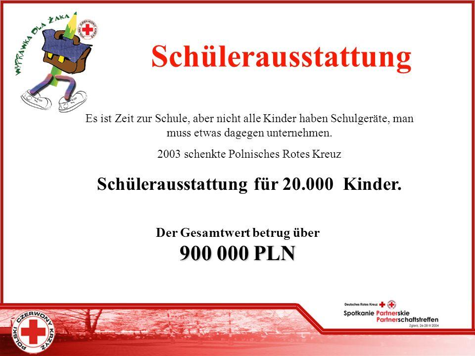 Schülerausstattung Schülerausstattung für 20.000 Kinder.