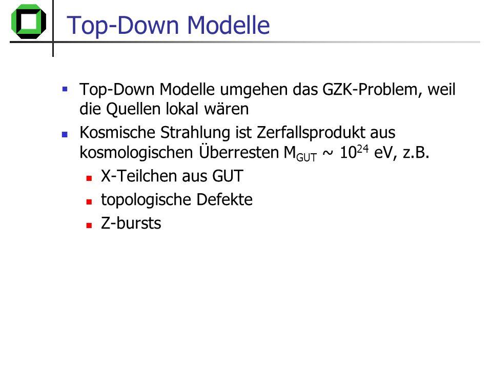 Top-Down Modelle Top-Down Modelle umgehen das GZK-Problem, weil die Quellen lokal wären.