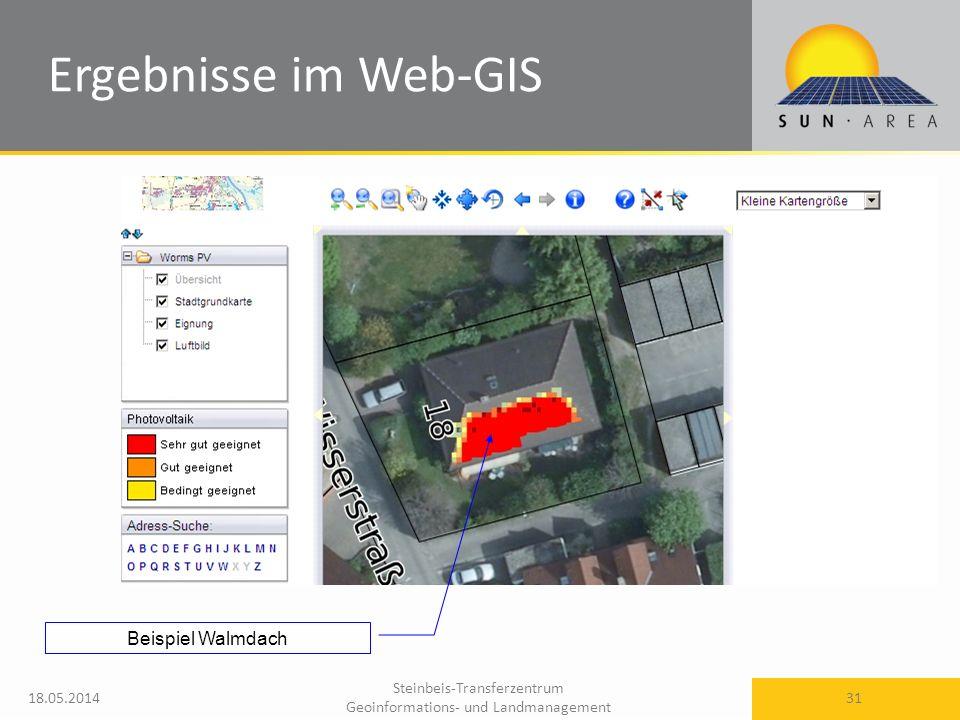 Ergebnisse im Web-GIS Beispiel Walmdach