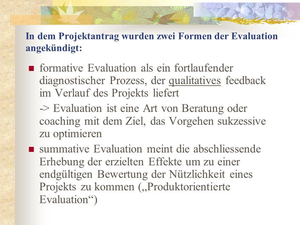In dem Projektantrag wurden zwei Formen der Evaluation angekündigt: