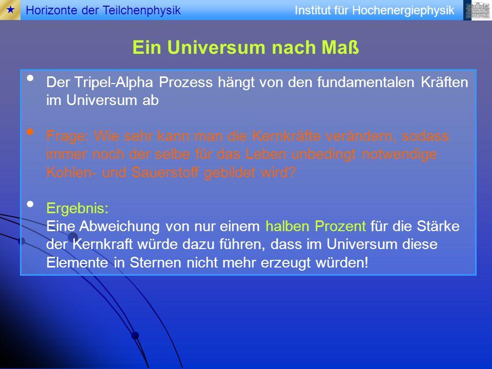  Horizonte der Teilchenphysik. Ein Universum nach Maß. Der Tripel-Alpha Prozess hängt von den fundamentalen Kräften im Universum ab.