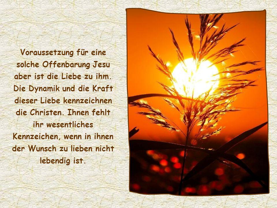 Voraussetzung für eine solche Offenbarung Jesu aber ist die Liebe zu ihm. Die Dynamik und die Kraft dieser Liebe kennzeichnen die Christen. Ihnen fehlt ihr wesentliches Kennzeichen, wenn in ihnen der Wunsch zu lieben nicht