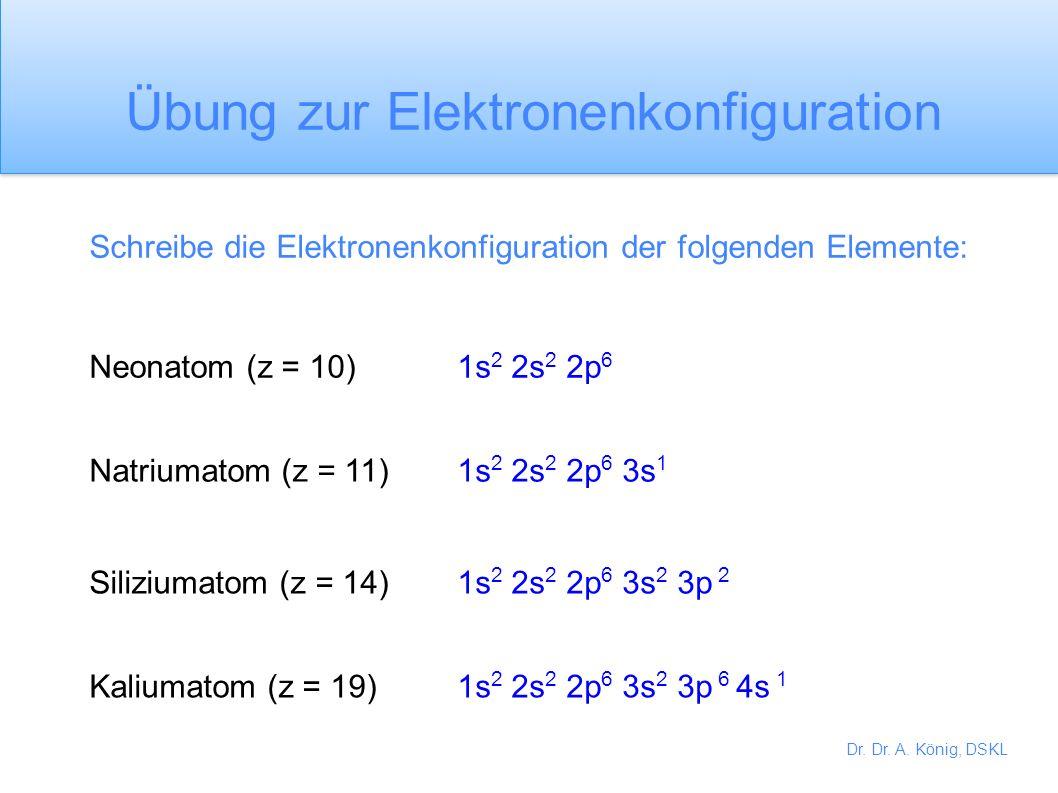 Übung zur Elektronenkonfiguration