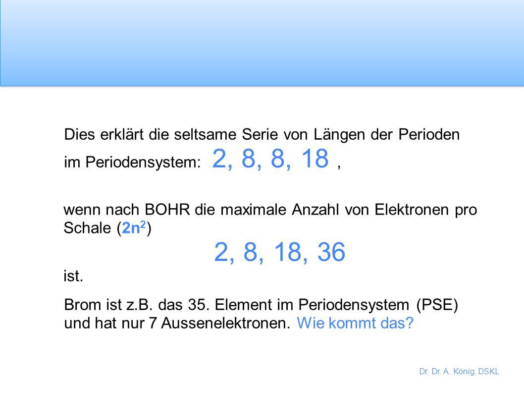 Dies erklärt die seltsame Serie von Längen der Perioden im Periodensystem: 2, 8, 8, 18 ,