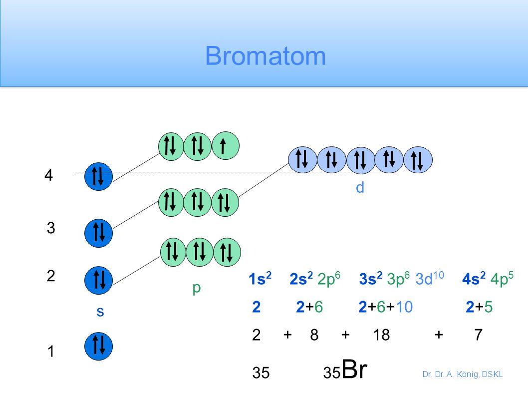 Bromatom 4 d 3 2 1s2 2s2 2p6 3s2 3p6 3d10 4s2 4p5 p 2 2+6 2+6+10 2+5 s