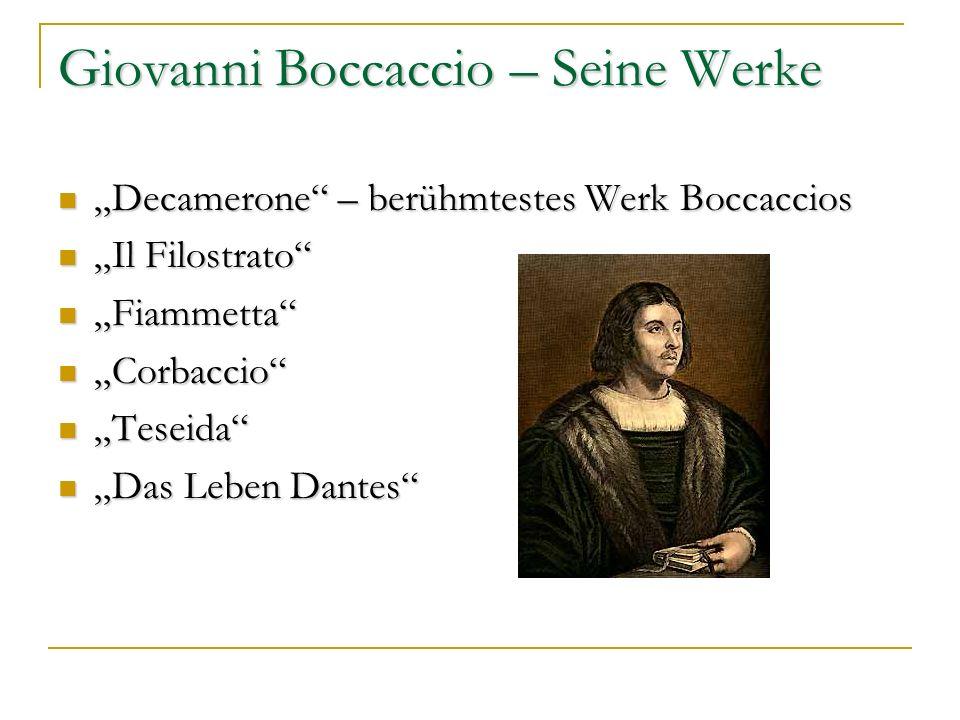 Giovanni Boccaccio – Seine Werke