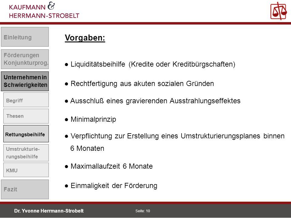 Vorgaben: ● Liquiditätsbeihilfe (Kredite oder Kreditbürgschaften)