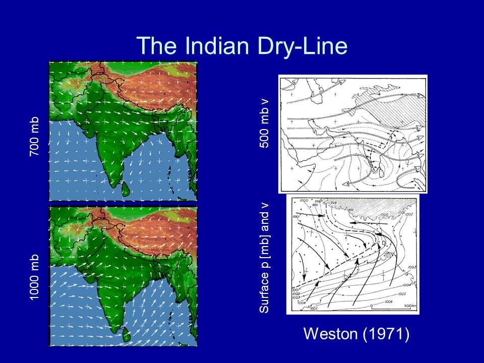 The Indian Dry-Line Weston (1971) 1000 mb 700 mb