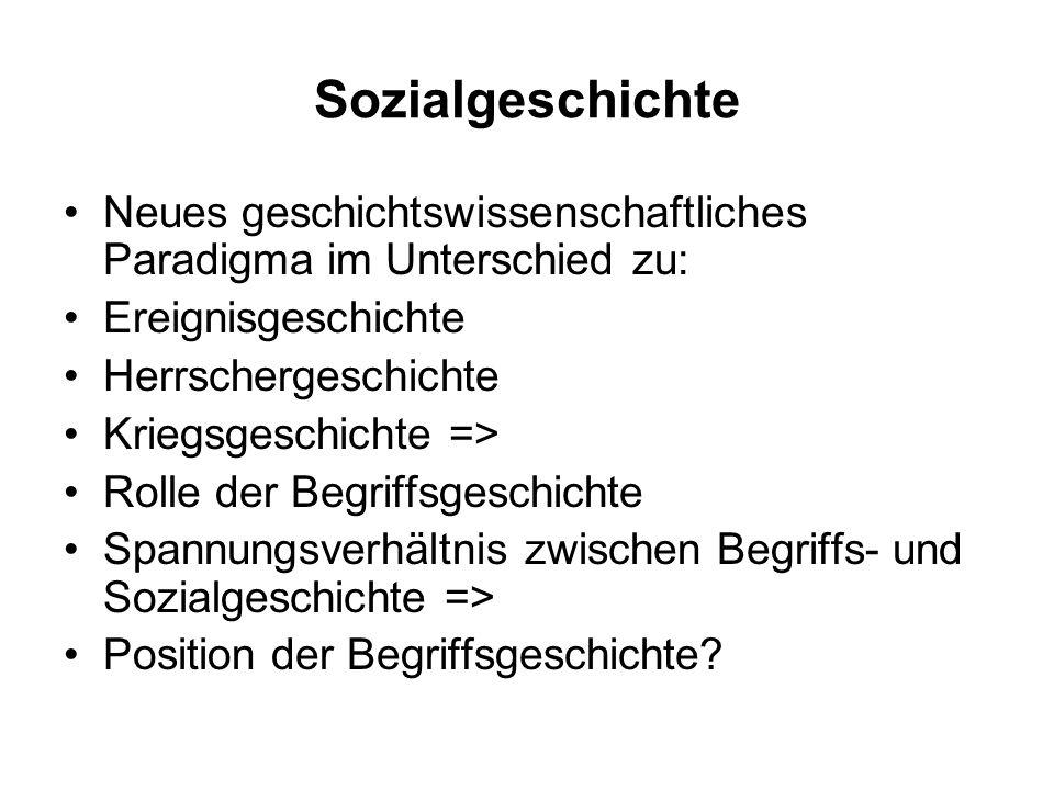 Sozialgeschichte Neues geschichtswissenschaftliches Paradigma im Unterschied zu: Ereignisgeschichte.