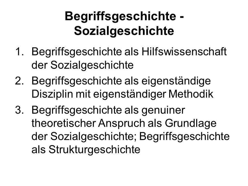 Begriffsgeschichte - Sozialgeschichte