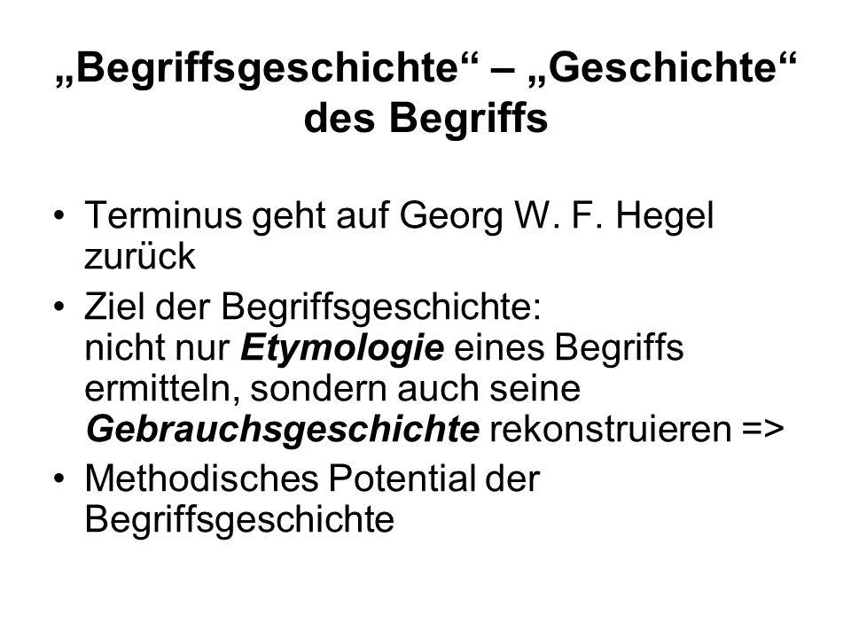 """""""Begriffsgeschichte – """"Geschichte des Begriffs"""