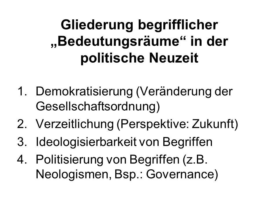 """Gliederung begrifflicher """"Bedeutungsräume in der politische Neuzeit"""