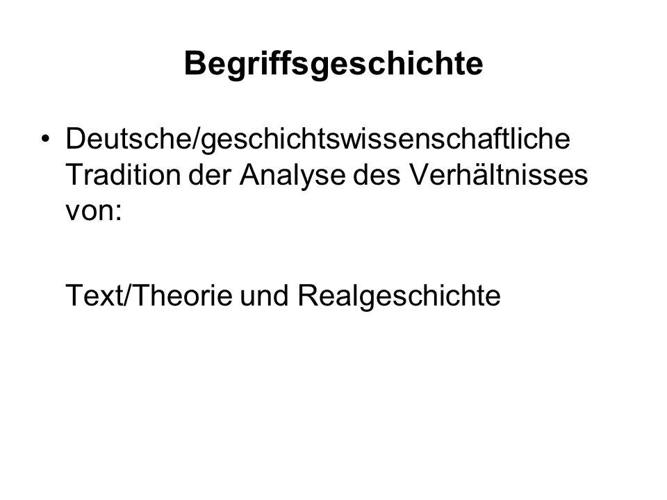 Begriffsgeschichte Deutsche/geschichtswissenschaftliche Tradition der Analyse des Verhältnisses von: