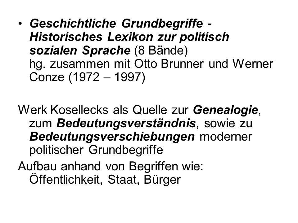 Geschichtliche Grundbegriffe - Historisches Lexikon zur politisch sozialen Sprache (8 Bände) hg. zusammen mit Otto Brunner und Werner Conze (1972 – 1997)