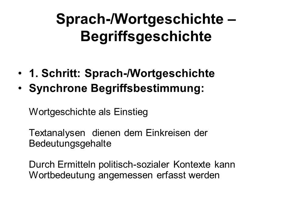 Sprach-/Wortgeschichte – Begriffsgeschichte