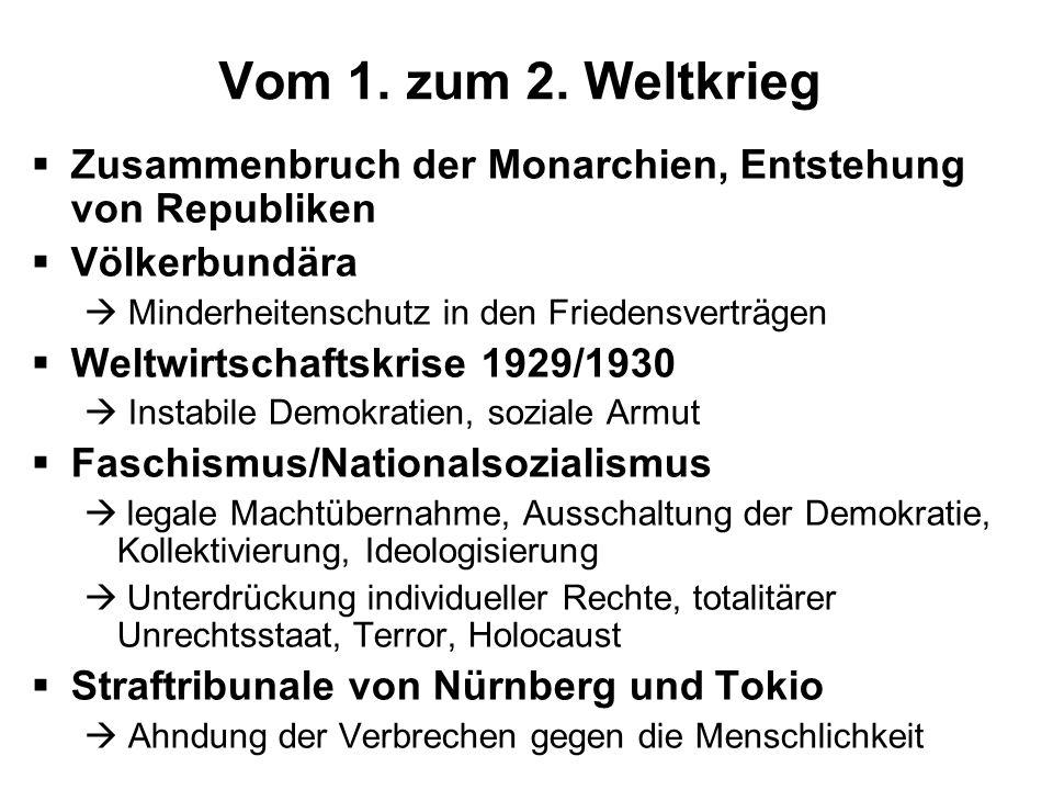 Vom 1. zum 2. Weltkrieg Zusammenbruch der Monarchien, Entstehung von Republiken. Völkerbundära.  Minderheitenschutz in den Friedensverträgen.