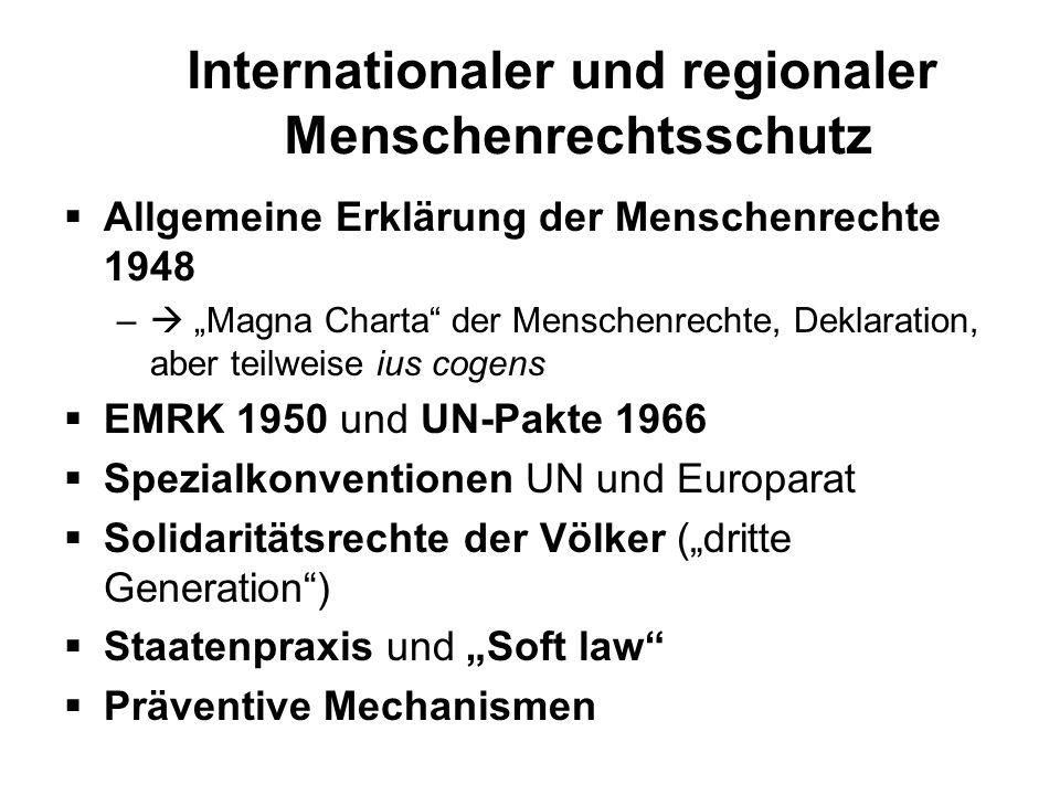 Internationaler und regionaler Menschenrechtsschutz