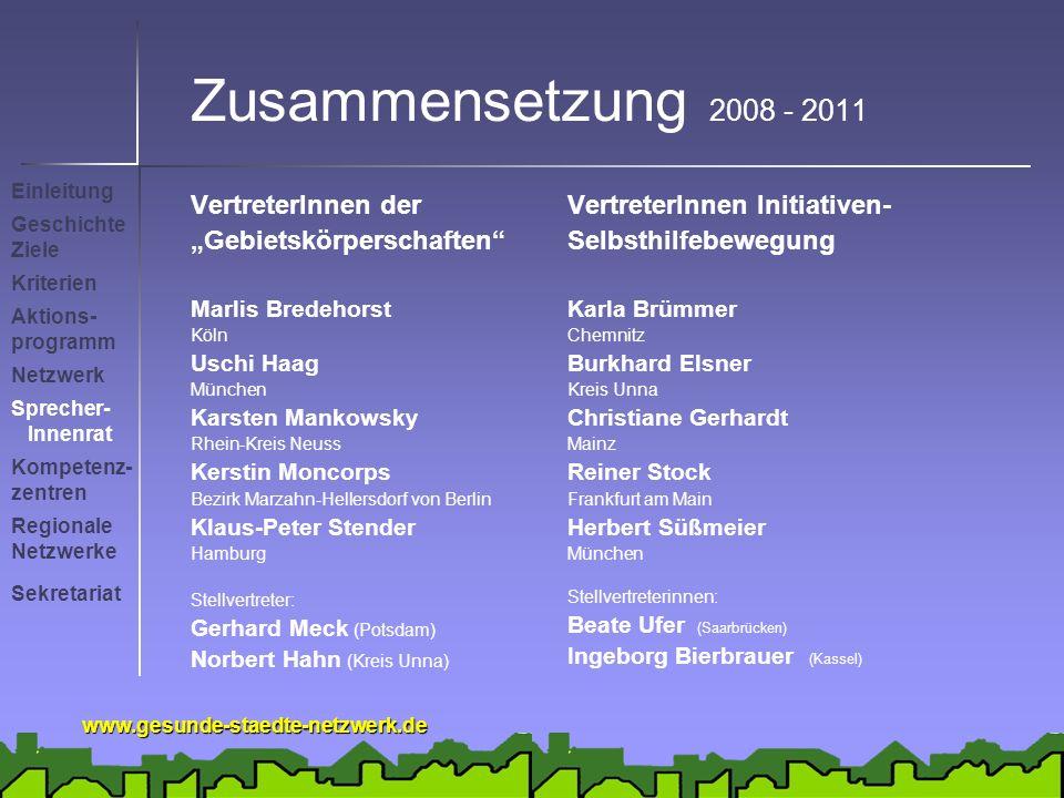 """Zusammensetzung 2008 - 2011 VertreterInnen der """"Gebietskörperschaften"""