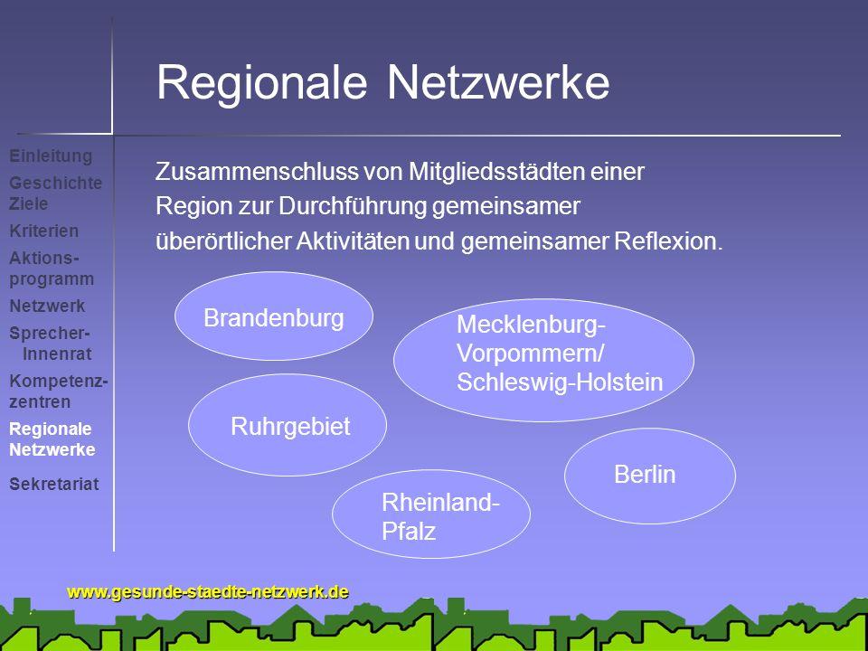 Regionale Netzwerke Zusammenschluss von Mitgliedsstädten einer