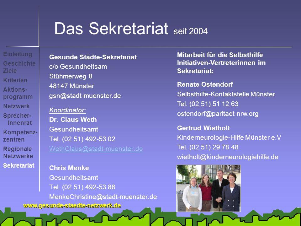Das Sekretariat seit 2004 Mitarbeit für die Selbsthilfe