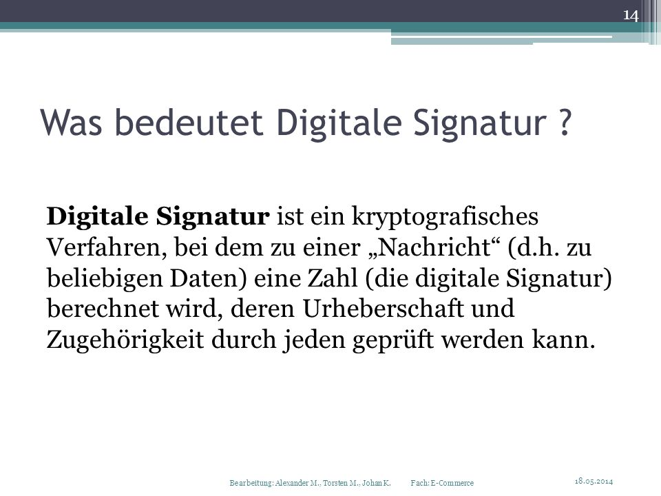Was bedeutet Digitale Signatur