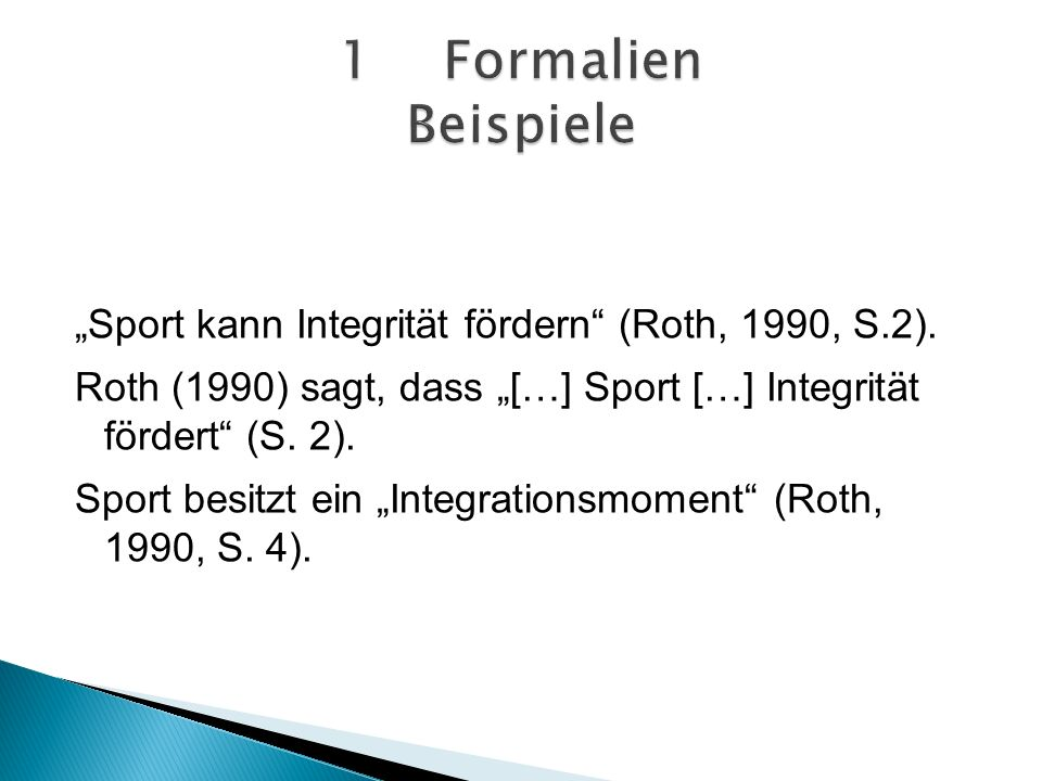 1 Formalien Beispiele