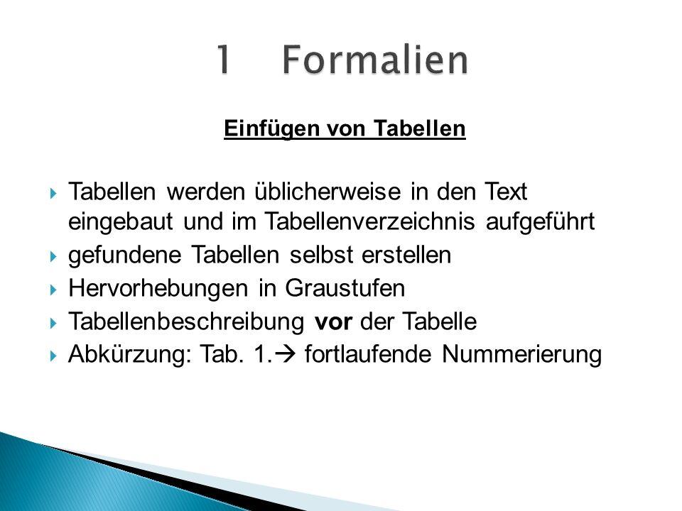 1 Formalien Einfügen von Tabellen. Tabellen werden üblicherweise in den Text eingebaut und im Tabellenverzeichnis aufgeführt.