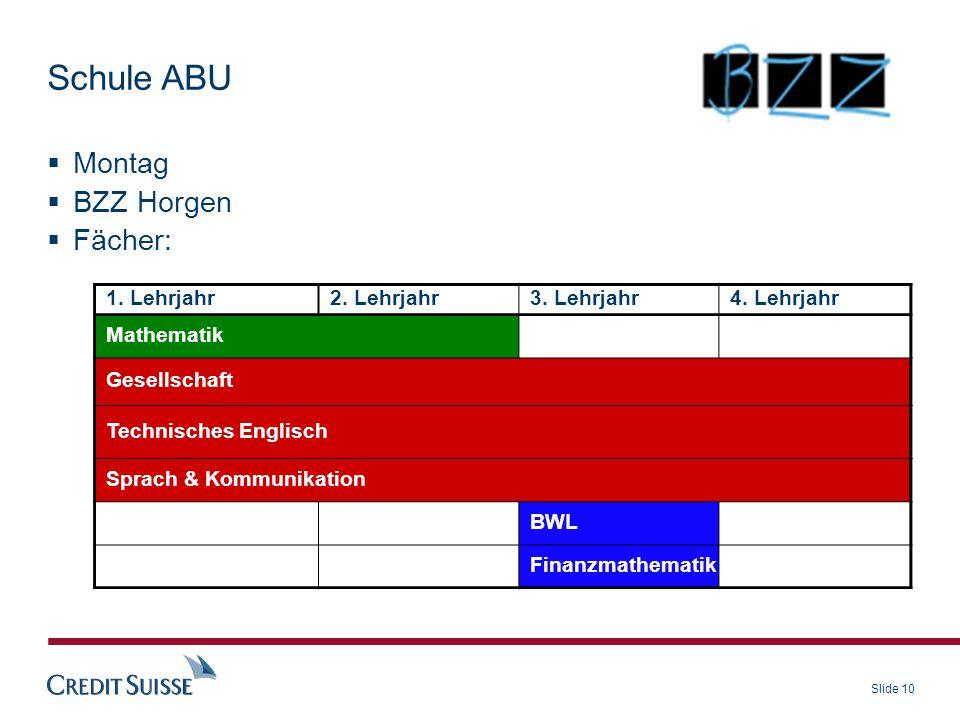 Schule ABU Montag BZZ Horgen Fächer: 1. Lehrjahr 2. Lehrjahr