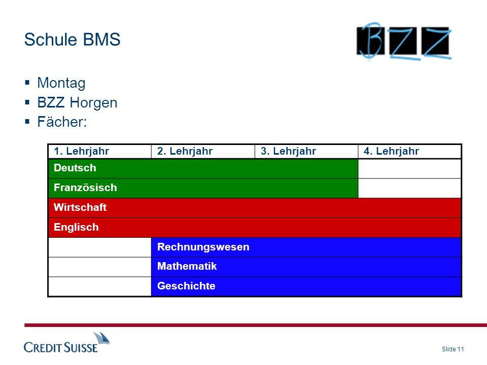 Schule BMS Montag BZZ Horgen Fächer: 1. Lehrjahr 2. Lehrjahr