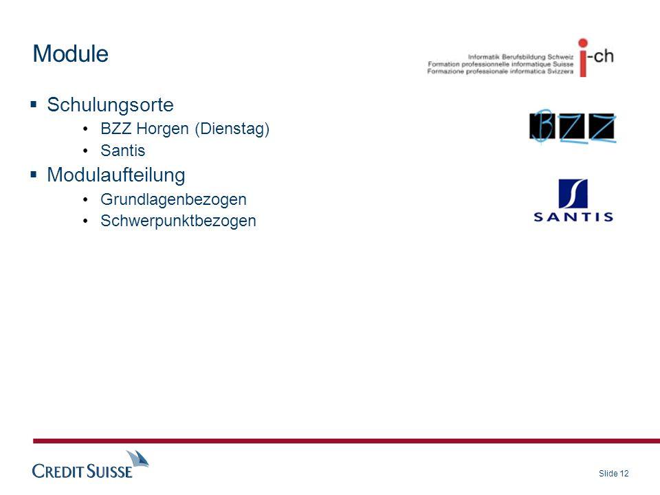 Module Schulungsorte Modulaufteilung BZZ Horgen (Dienstag) Santis