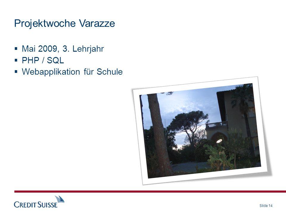 Projektwoche Varazze Mai 2009, 3. Lehrjahr PHP / SQL