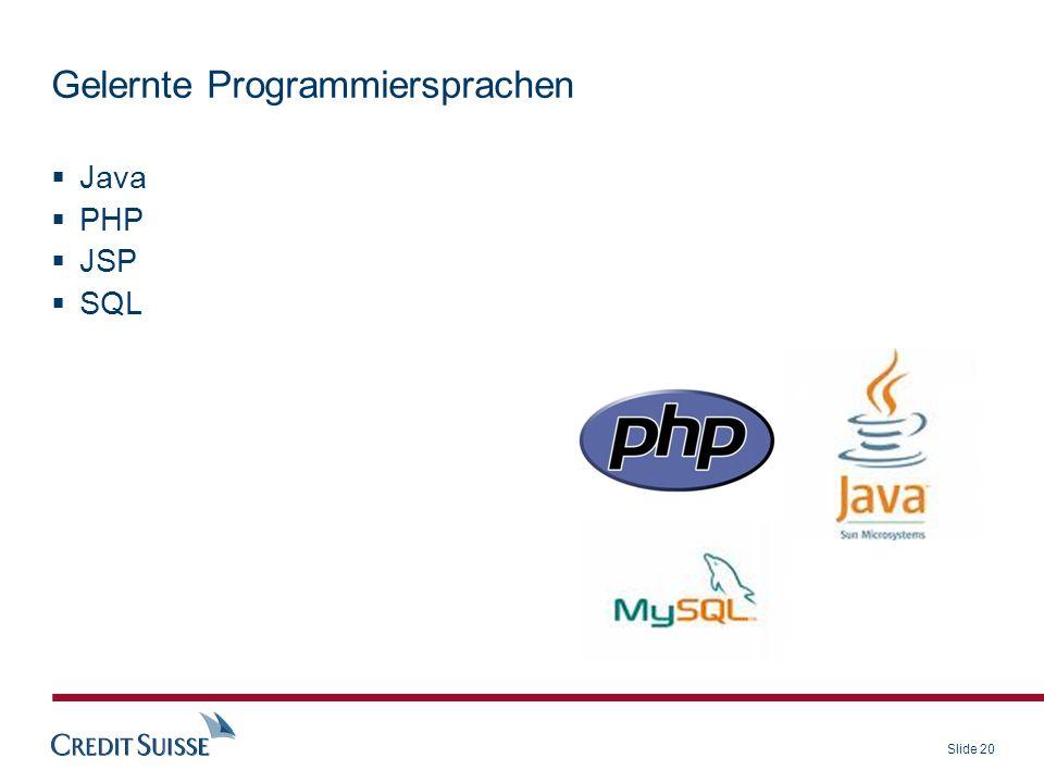 Gelernte Programmiersprachen