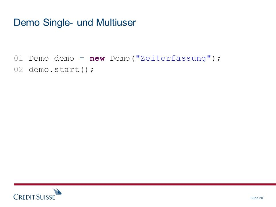 Demo Single- und Multiuser