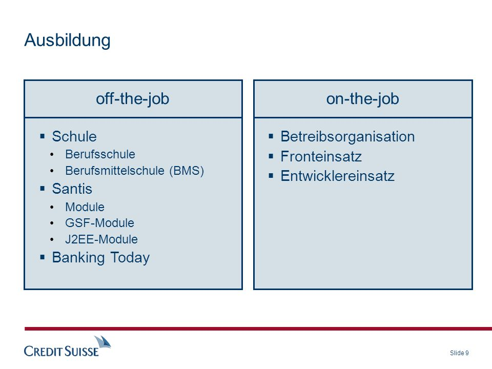 Ausbildung off-the-job on-the-job Schule Santis Banking Today