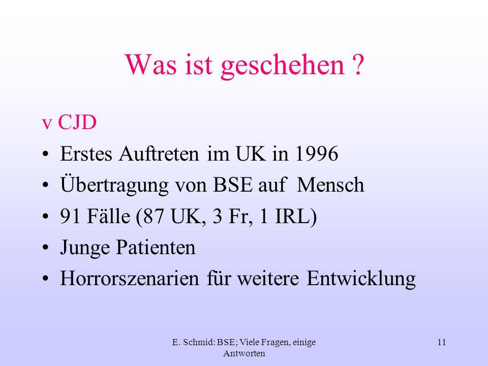 E. Schmid: BSE; Viele Fragen, einige Antworten