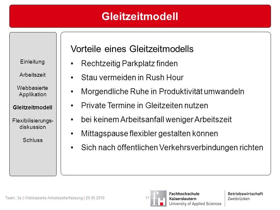 Gleitzeitmodell Vorteile eines Gleitzeitmodells