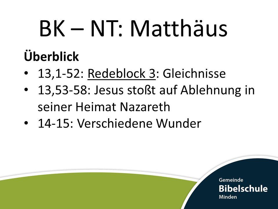 BK – NT: Matthäus Überblick 13,1-52: Redeblock 3: Gleichnisse