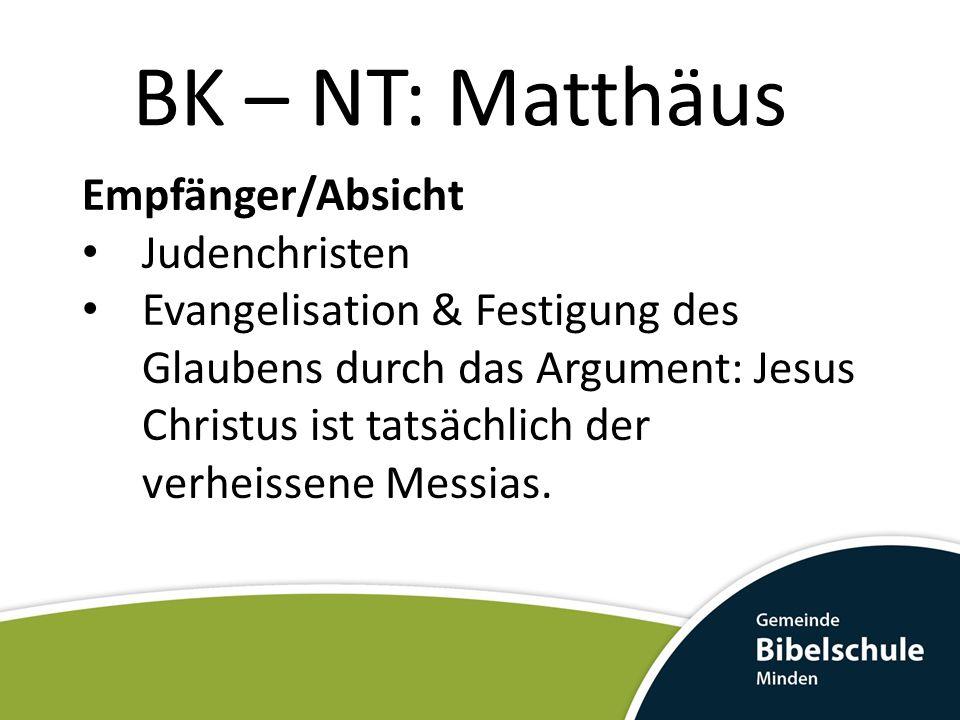 BK – NT: Matthäus Empfänger/Absicht Judenchristen