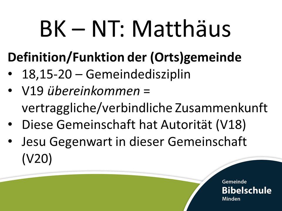 BK – NT: Matthäus Definition/Funktion der (Orts)gemeinde