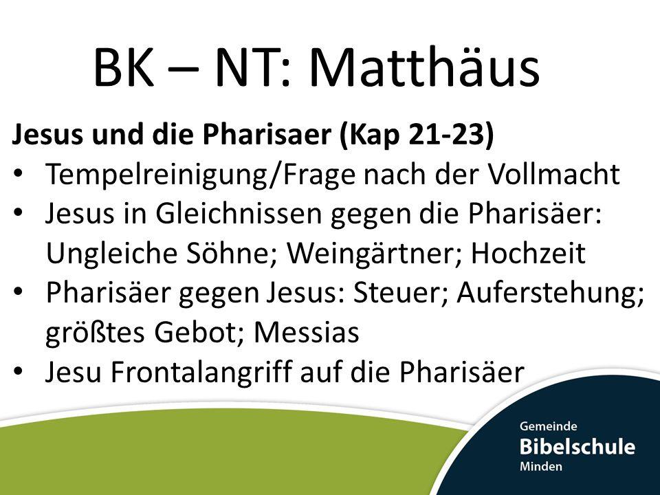 BK – NT: Matthäus Jesus und die Pharisaer (Kap 21-23)