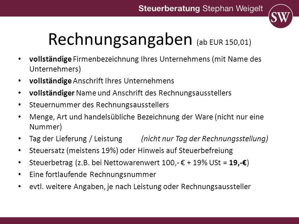 Rechnungsangaben (ab EUR 150,01)