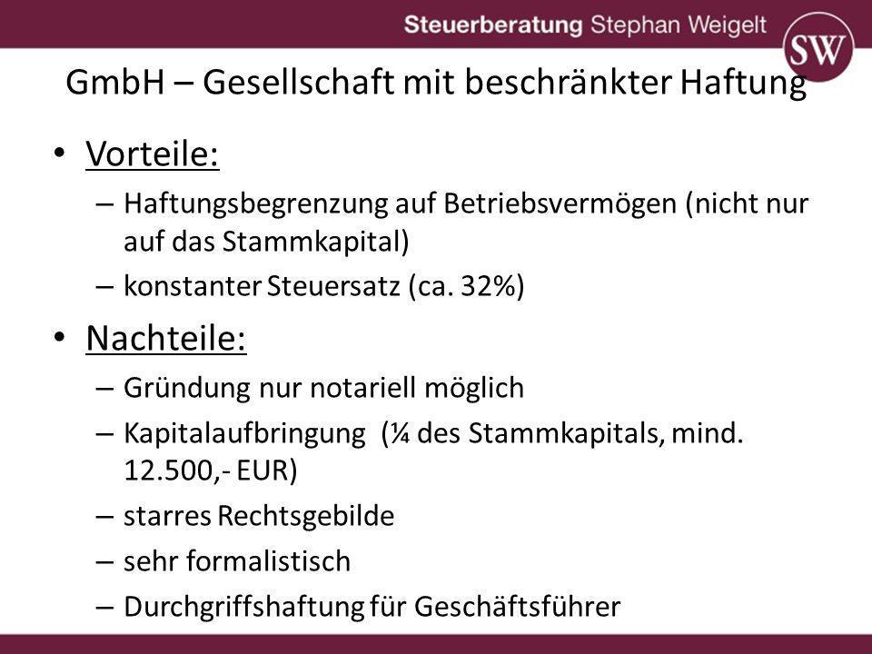 GmbH – Gesellschaft mit beschränkter Haftung