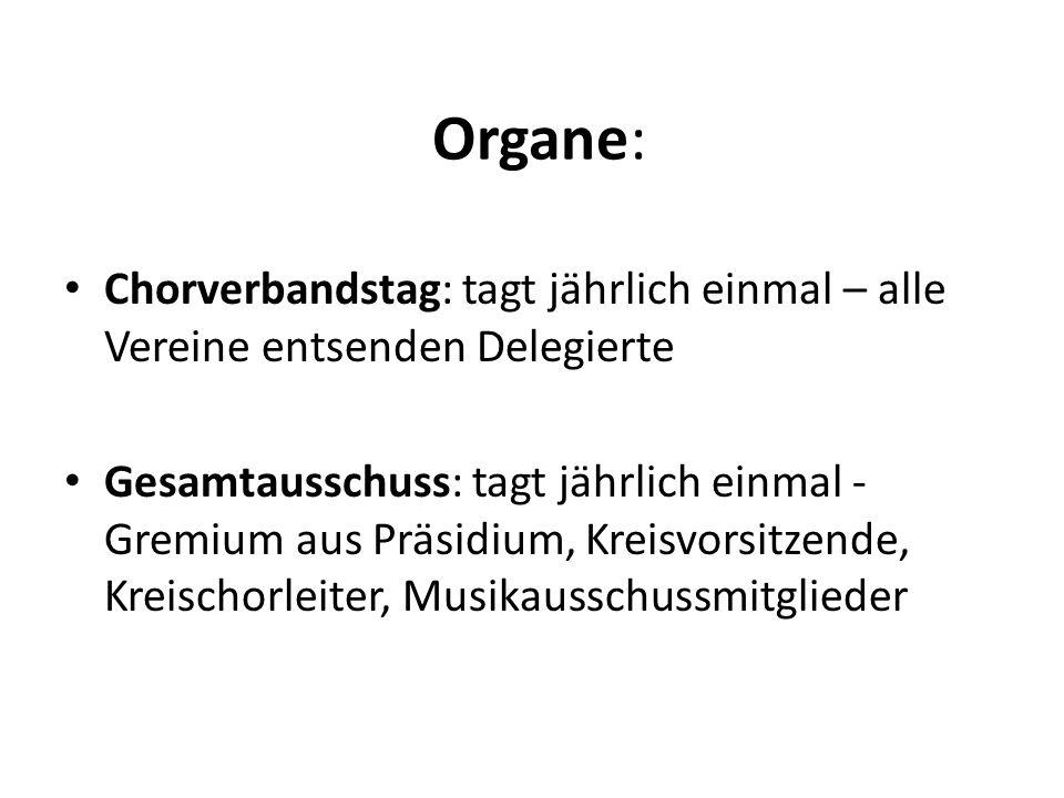 Organe: Chorverbandstag: tagt jährlich einmal – alle Vereine entsenden Delegierte.